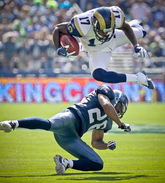 Rams WR Donnie Avery gets upended by Seahawks CB Josh Wilson. Sept. 13, 2009 - Qwest Field, Seattle