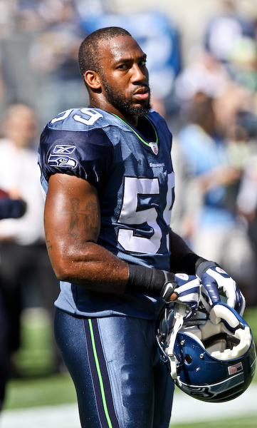 Seahawks Rookie LB Aaron Curry has the game face on before his first pro game. Sept. 13, 2009 - Qwest Field, Seattle