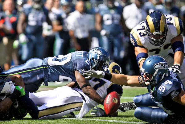 On the opening kickoff, St. Louis coughs up the ball and is recovered by Seattle LB Will Herring. Sept. 13, 2009 - Qwest Field, Seattle