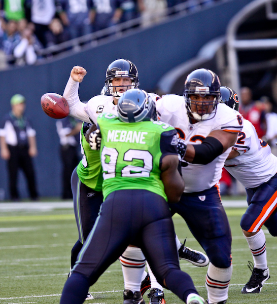 Jay Cutler gets stripped from behind by Aaron Curry and the Seahawks recovered the fumble.