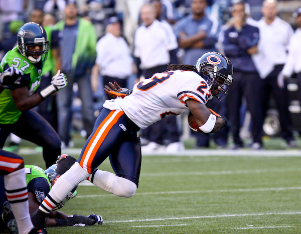 Devin Hester escapes after a reception for the go-ahead touchdown in the 4th quarter that would prove to be the game winner.