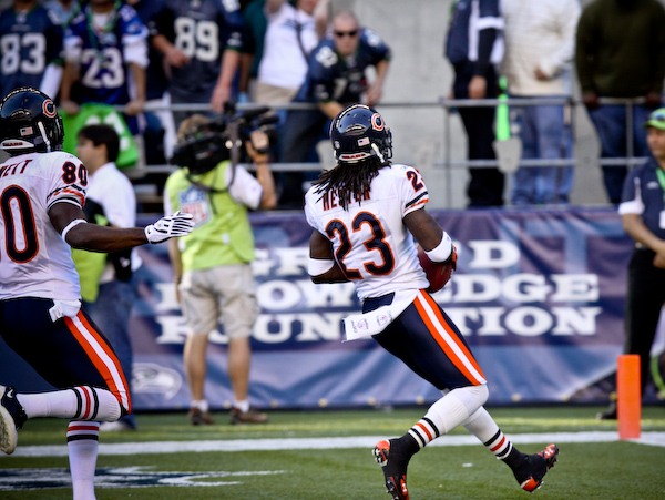 Devin Hester in the endzone.