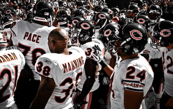 *Extra* Bears gather together after being introduced before the game.