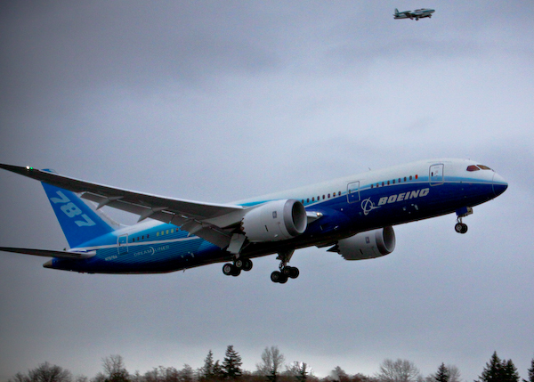 The Boeing 787 takes off for it's first flight.