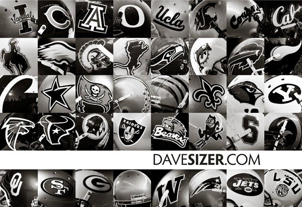 Various football helmets