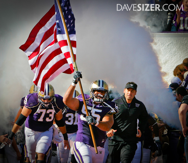 Washington DT Simone Potoa'e leads the team out of the tunnel on the anniversary of 9/11