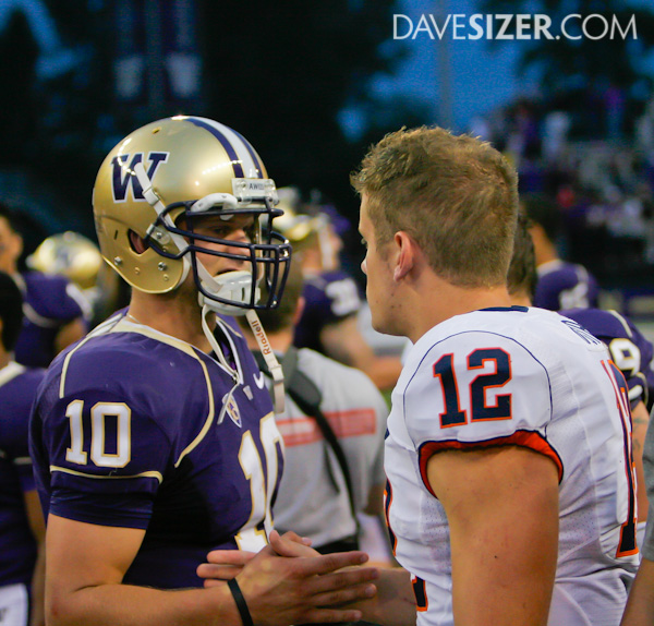 Jake Locker and Ryan Nassib congratulate each other after the game