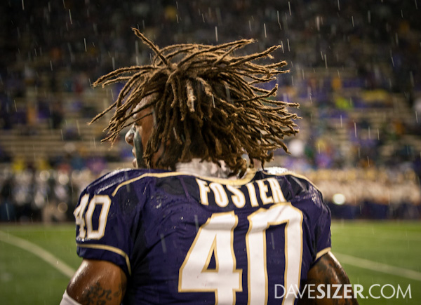 Mason Foster lets it fly in the rain