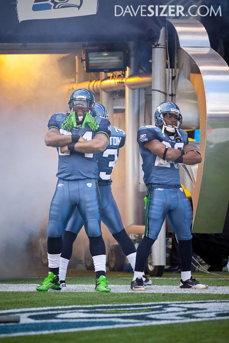 The Hawks rushing trio was introduced together. Unfortunately, the only managed 20 total yards for the game.