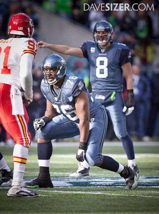 Rookie Russell Okung gets ready to protect his QB.