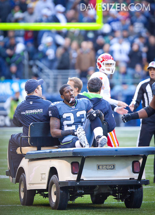 Marcus Trufant is taken off the field on the cart after a leg injury, but returned later in the game.