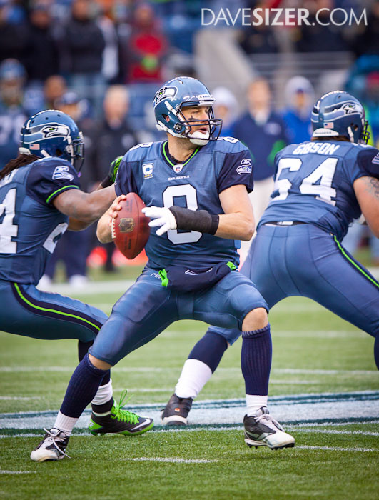 Matt Hasselbeck gets a pass off. He finished with 282 yards on the day.