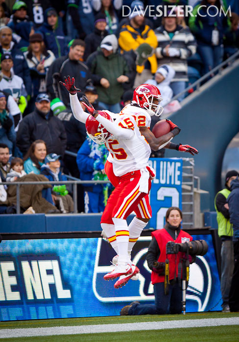 Dwayne Bowe and Verran Tucker celebrate one of Bowe's 3 touchdowns.