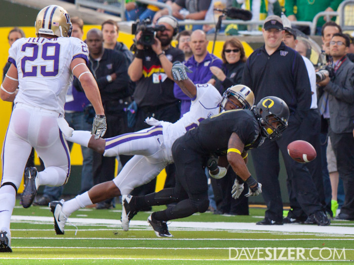 the Huskies manage to rip the ball away from LaMichael James, but it rolled out of bounds before they could pounce on it.