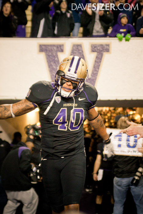 Mason Foster gets introduced for his last game at Husky Stadium