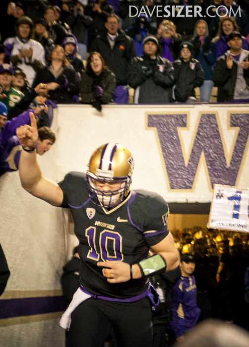 Jake Locker gets introduced to the crowd for his last game at Husky Stadium