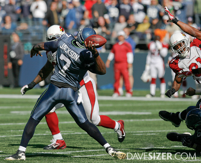 Tarvaris Jackson unloads a desperation throw at the end of the half...
