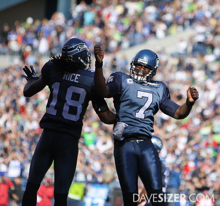 Tarvaris Jackson and Sidney Rice celebrate Jackson's touchdown.