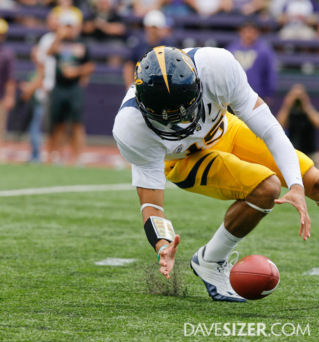 Cal QB Zach Maynard tries to recover his fumble on the snap in the first quarter.