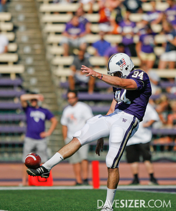 UW punter Keil Rasp appears to have found the ball that was covered in glue.