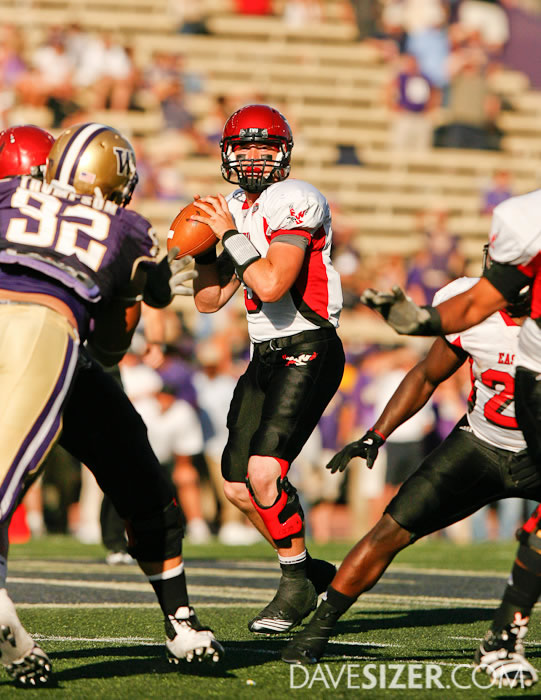 Eastern Washington QB Bo Levi Mitchell looks for an open receiver. Mitchell ended up with 473 Yards passing.
