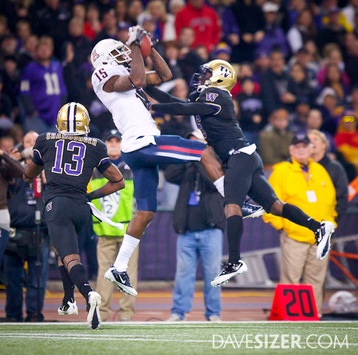 Arizona's Dan Buckner appears to have this catch, but the ball was knocked away by Desmond Trufant.