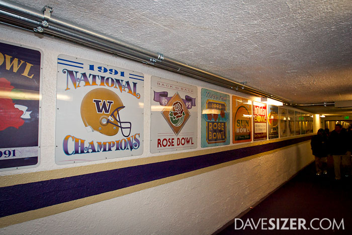 In the tunnel, you will see plaques from past bowl games lining the wall. This shot shows the 1991 National Champions.