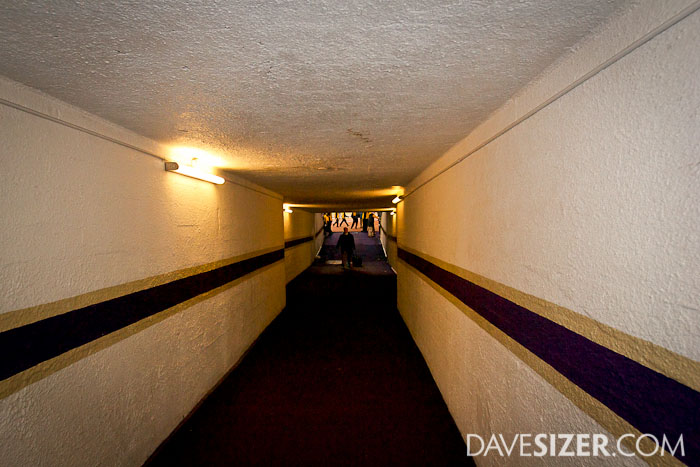This is the long tunnel leading to the field.