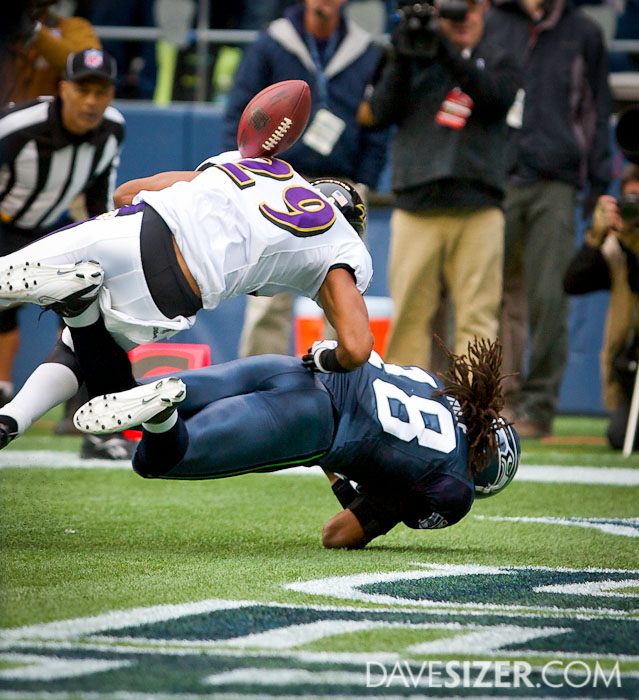 Cary Williams breaks up this pass to Sidney Rice.