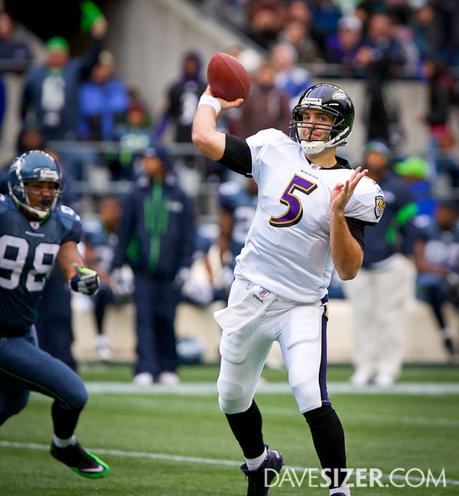 Joe Flacco gets a pass off with pressure coming.