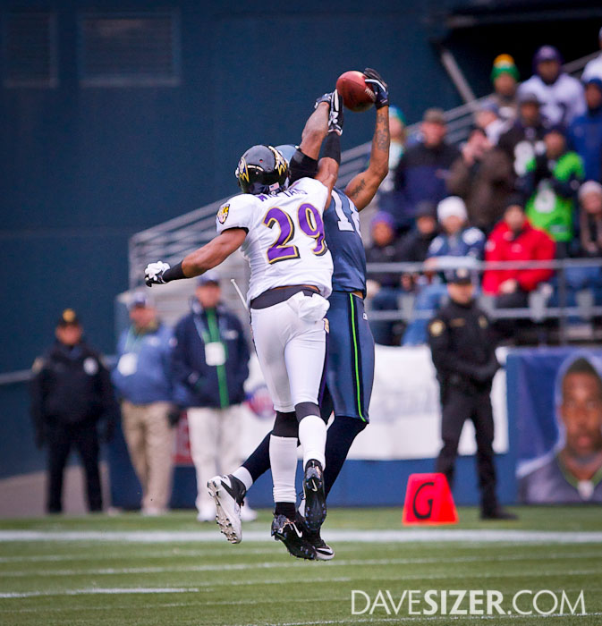 Sidney Rice goes up high for this pass, but it was eventually knock away.