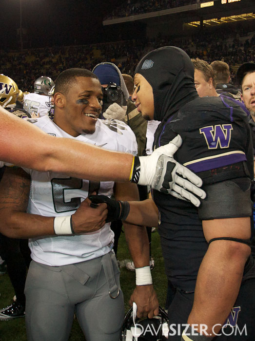 The two best backs in the Pac-12 give each other props after the game.