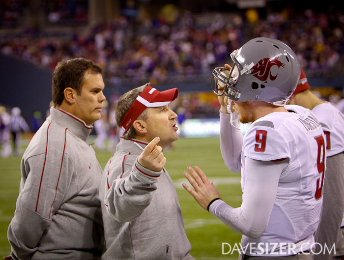 WSU QB Marshall Lobbestael gets an earful from his coaches after a bad series.