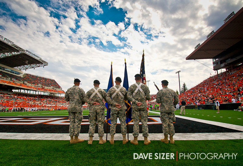 The Color Guard awaits to present the colors before the game.
