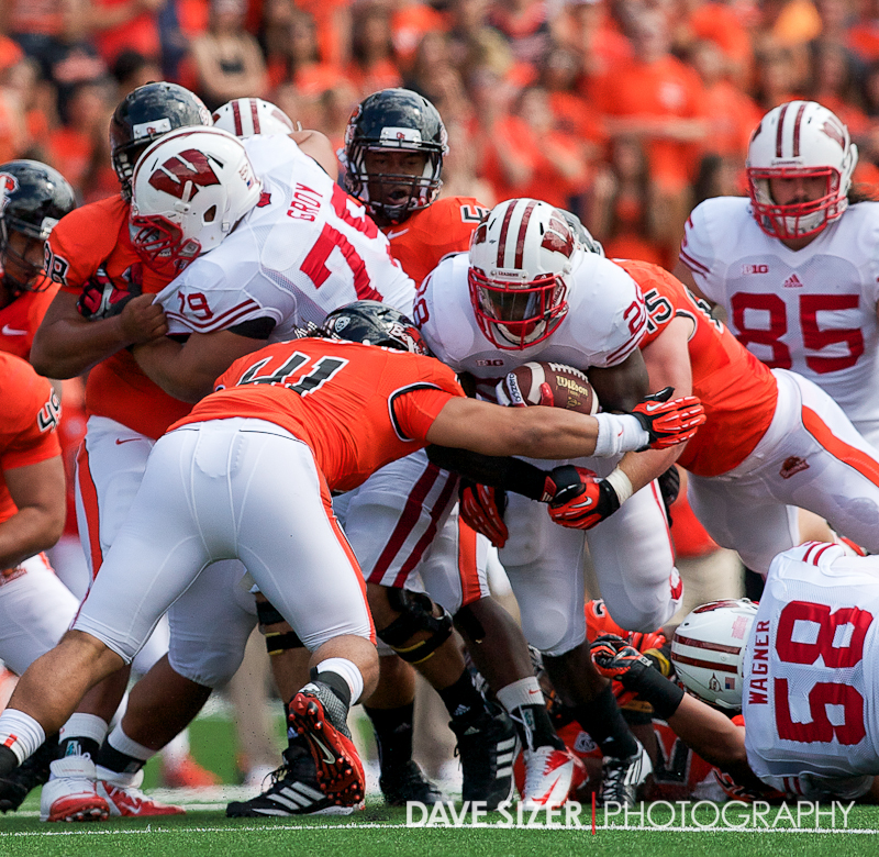 Badger RB Montee Ball gets swallowed up by the Beavers' defense.
