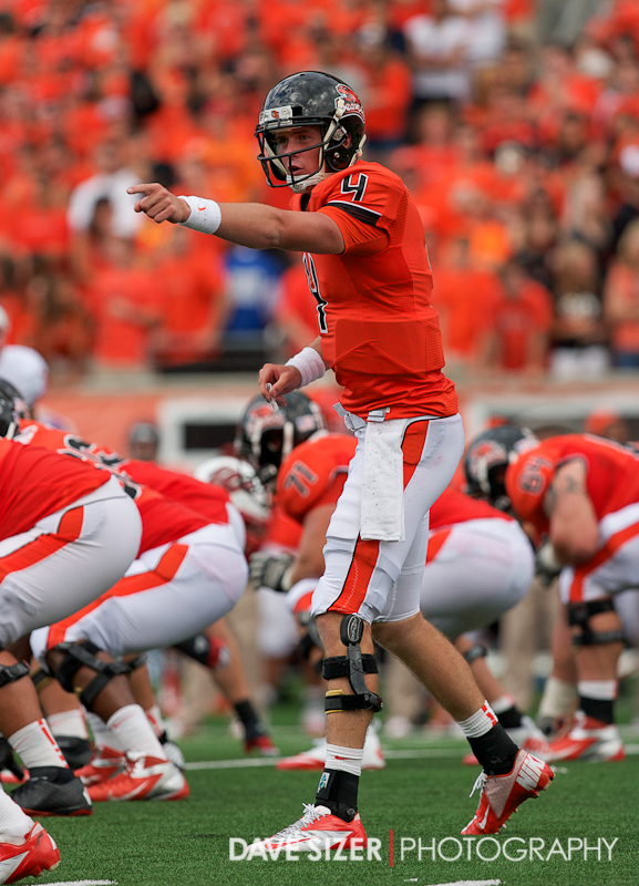 Sean Mannion talking to his receivers at the line.
