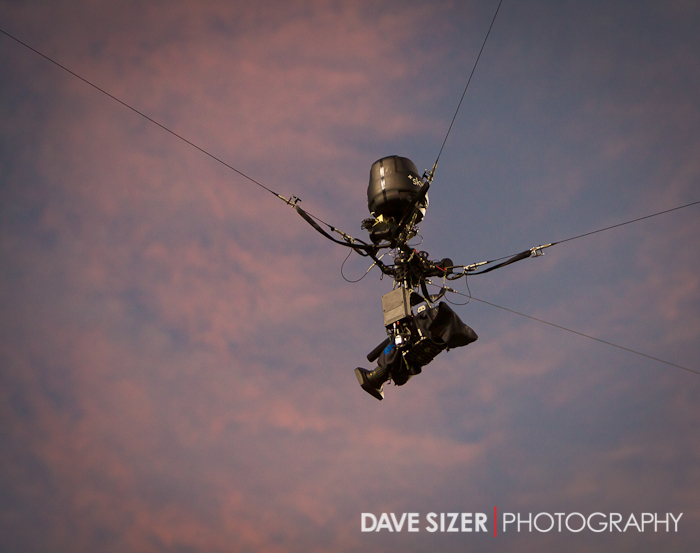 *Extra* The remote overhead field camera with a beautiful sunset behind it.