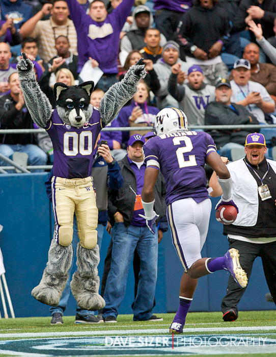 Harry the Husky jumps for joy after this Kasen Williams touchdown catch.