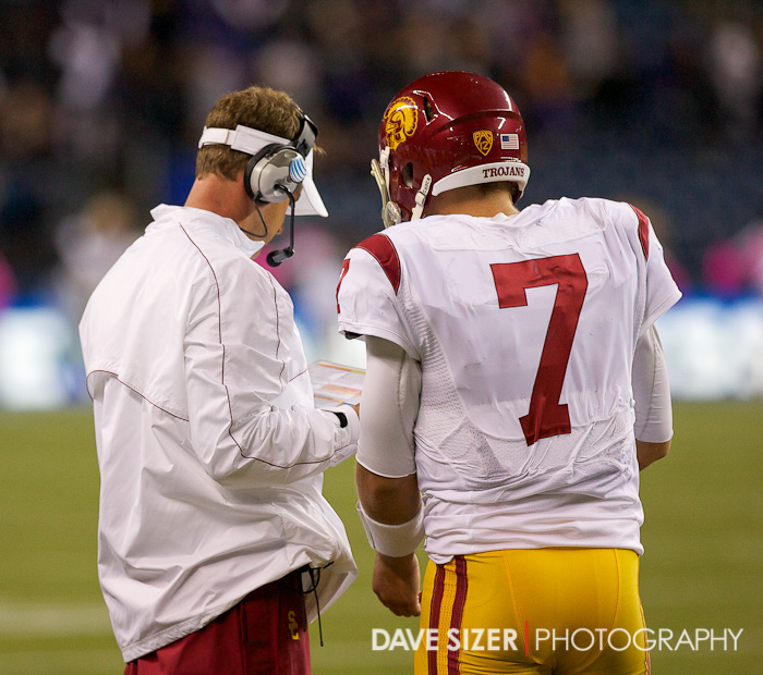 Head Coach Lane Kiffin gets a play in to his Quarterback.