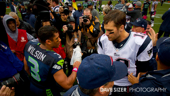 Brady and Wilson shake hands after the game.