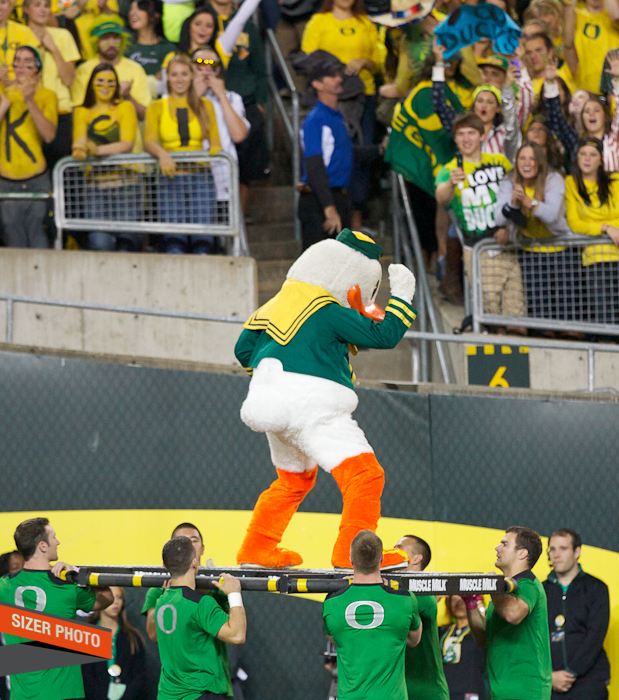 The Oregon Duck works the crowd after doing his pushups after the score.