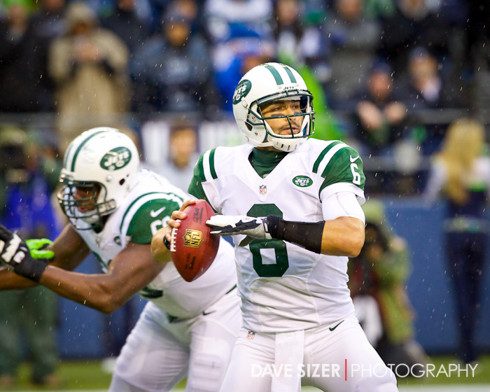 Jets QB Mark Sanchez looks to pass.