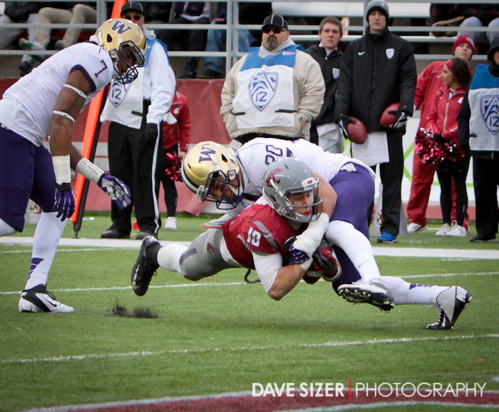 Brett Bartolone tries to reach for the goal line but is stopped short.