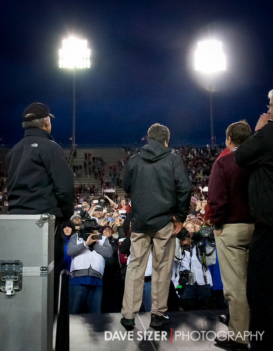 Coach Mike Leach addresses the crowd before the trophy presentation.