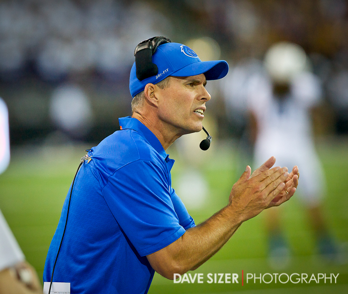 Boise State Head Coach Chris Peterson tries to get his team to respond. This was the worst loss in his career at BSU.