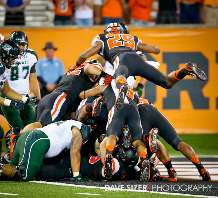 FS Ryan Murphy flies onto the pile as the Beaver Defense force a Safety.