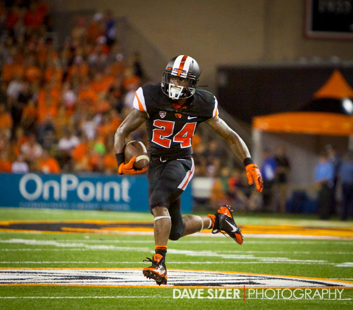 OSU Running Back Storm Woods finds some open field.