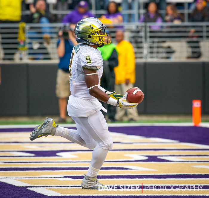 Byron Marshall filling in for the injured DeAnthony Thomas with one of his two scores on the day.