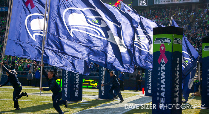 Seahawk flags lead the team out.