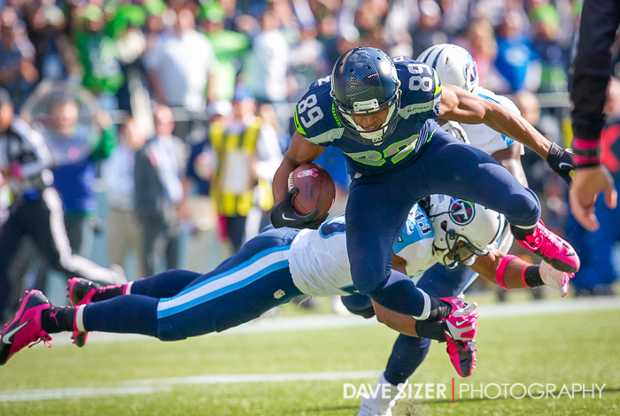 Doug Baldwin gets tripped up after a catch.